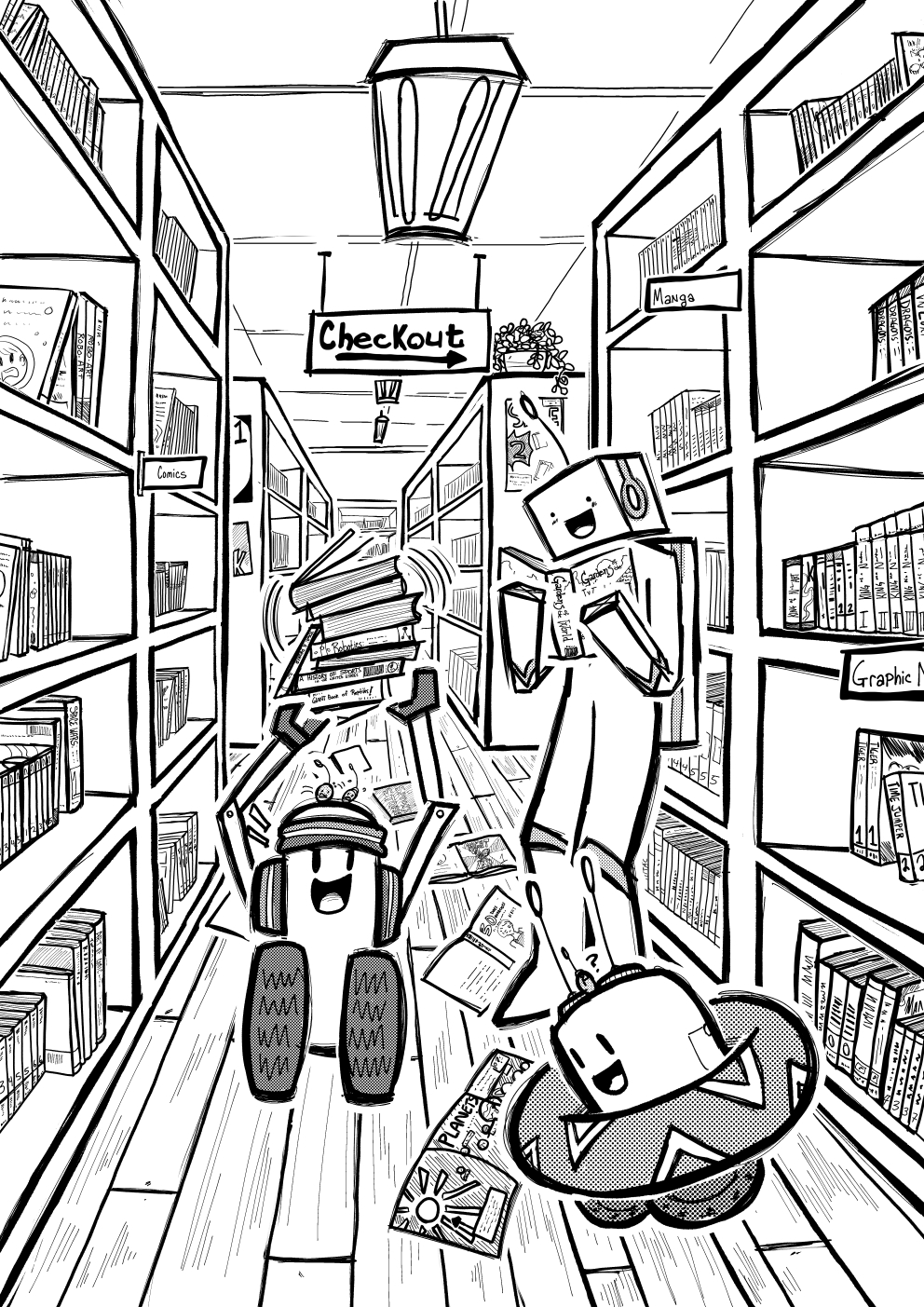 Art Break- In the Bookstore (B/W version)